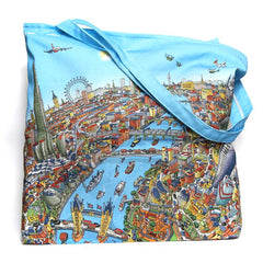 Large Zipped Tote - London Looking West in Full Colour