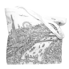 Large Zipped Tote - London Looking West -  Line Drawing