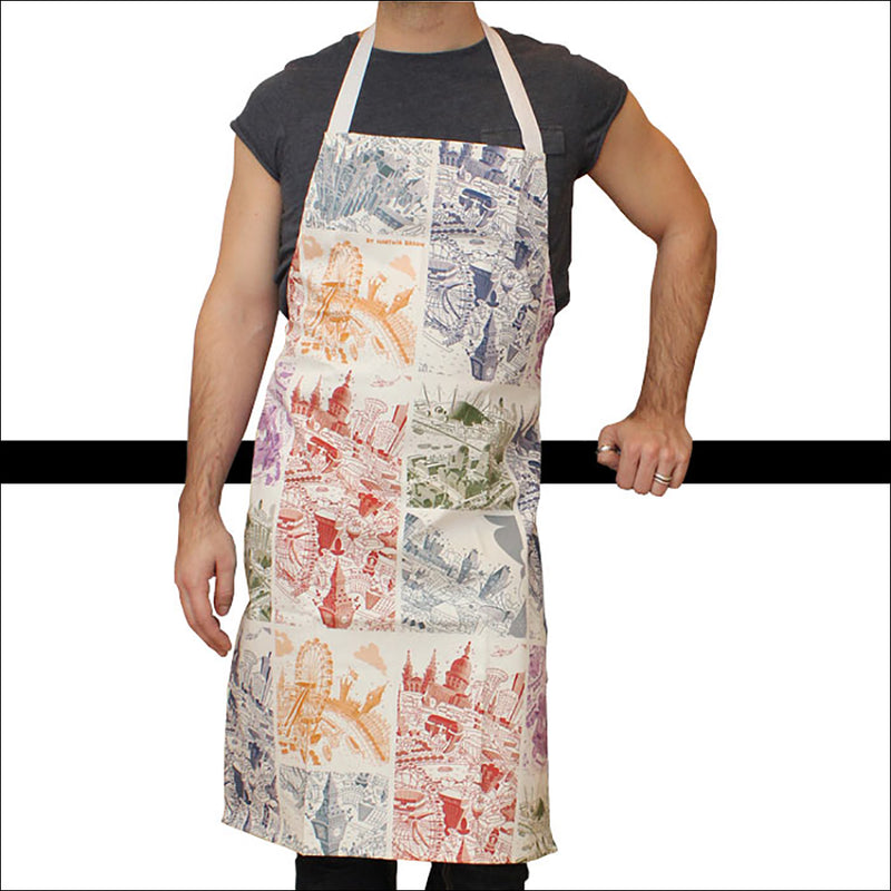 Adult Apron - London Mixed Scenes in Monochromatic Colours