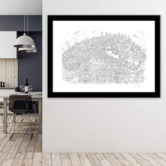 Limited Edition Art Print - London Looking East - Line Drawing (Signed)