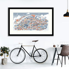 Large Art Print - Battersea & Clapham Junction - Retro Colours (Open Edition)