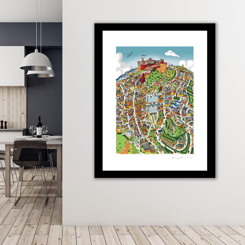 Large Art Print - Edinburgh Looking West - Full Colours (Open Edition)
