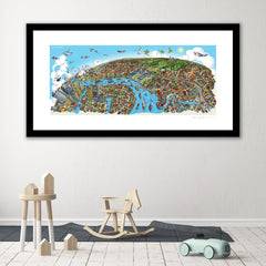 Large Art Print - Greenwich to Canary Wharf - Full Colour (Open Edition)