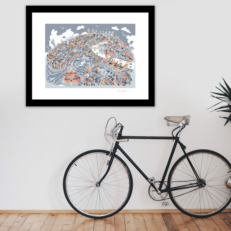 Large Art Print - London Looking East - Retro Colours (Open Edition)