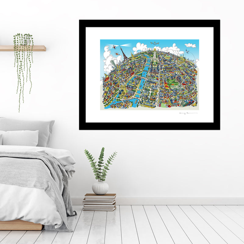 Large Art Print -Paris Looking West - Full Colours (Open Edition)