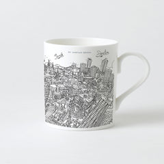 Fine-Bone China POP Mug - London Looking West - Line Drawing