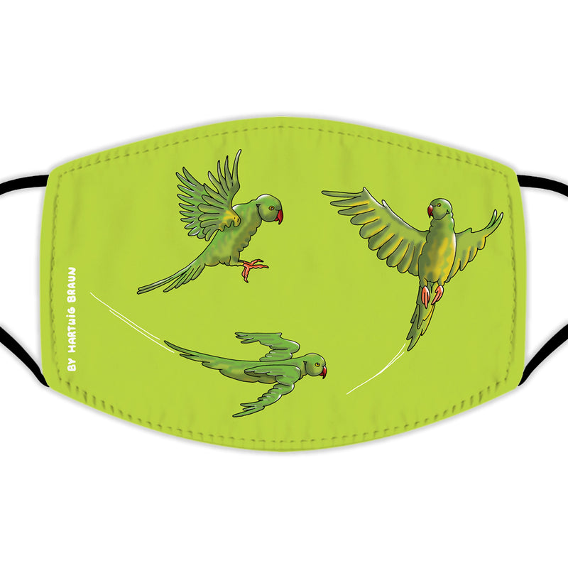 Face Mask With Filters - Three Parakeets