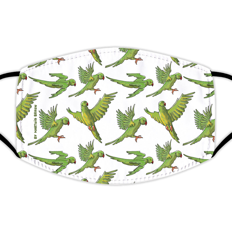 Face Mask With Filters - Parakeets on White