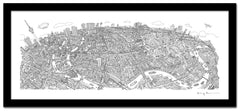 Berlin Looking South Line Drawing - Panoramic Art Print 60 x 25 cm (Limited, Signed)
