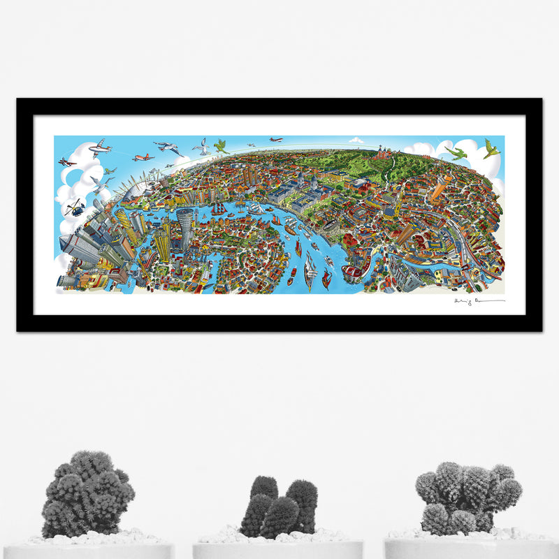 Greenwich to Canary Wharf Full Colour - Panoramic Art Print 60 x 25 cm (Signed)
