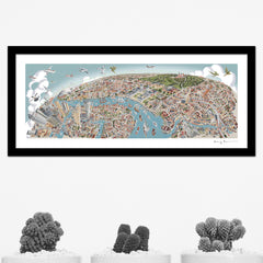 London Looking West Pastel Shades - Panoramic Art Print 60 x 25 cm (Limited, Signed)