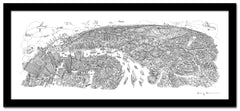 Greenwich to Canary Wharf Line Drawing - Panoramic Art Print 60 x 25 cm (Limited, Signed)
