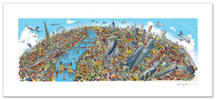 London Looking West Full Colour - Panoramic Art Print 60 x 25 cm (Signed)