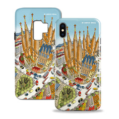Smartphone 3D Case - Barcelona, Around The Sagrada Familia in Full Colour