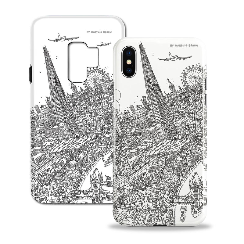 Smartphone 3D Case - London Around The Shard - Line Drawing