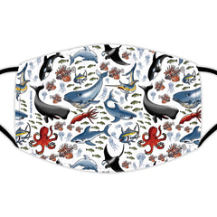 Face Mask With Filters - Sealife on White