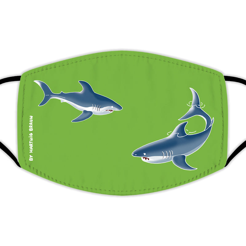 Face Mask With Filters - Two Sharks