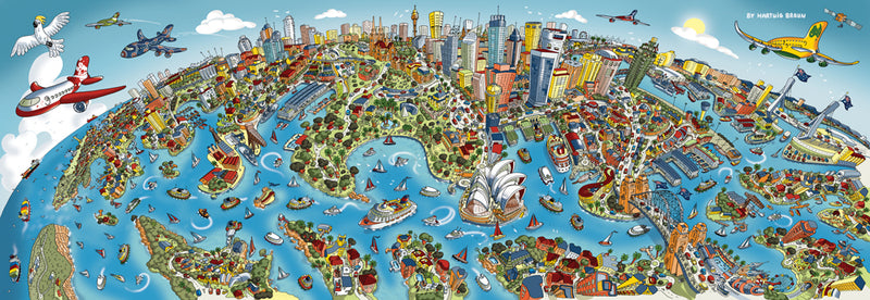 Panoramic 1000 Piece Puzzle -Sydney Looking South in Full Colour (Schmidt Spiele)