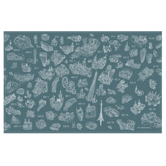 Cotton Tea Towel - London Postcodes - Line Drawing on Teal