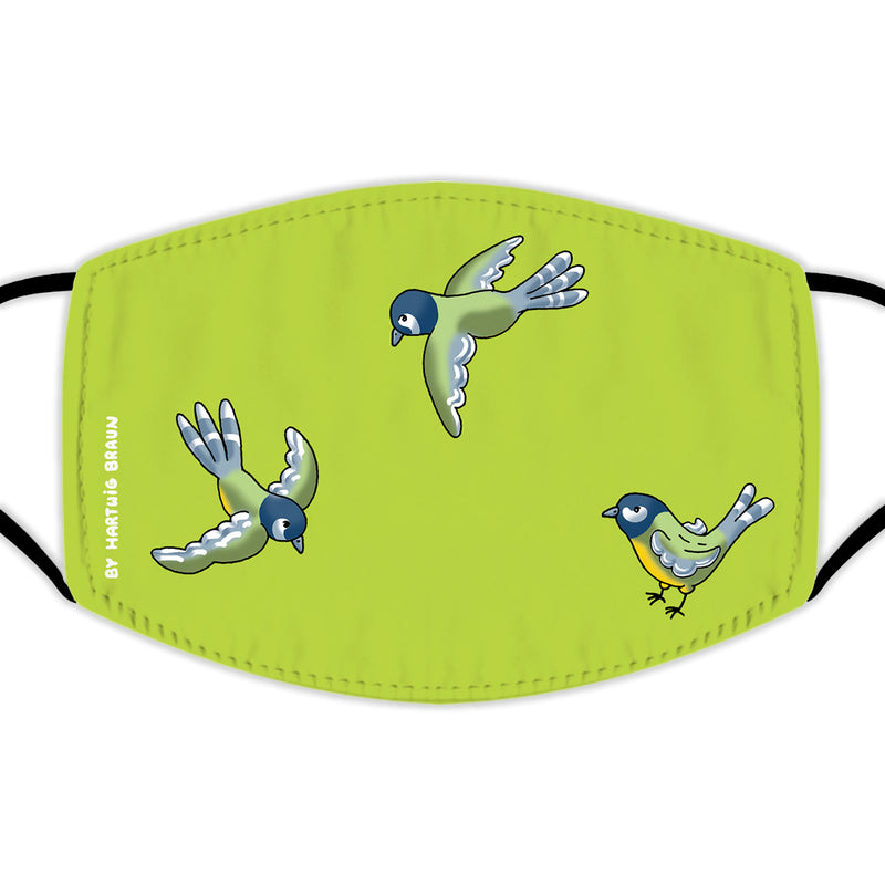 Face Mask With Filters - Three Titmice Birds
