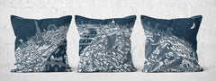 Cushion Triptych - London Looking West in White on Blue