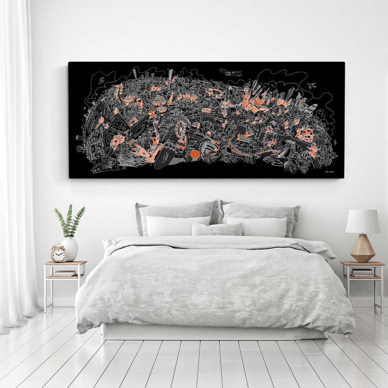 Open Edition Canvas - London Looking North - Orange & White on Black