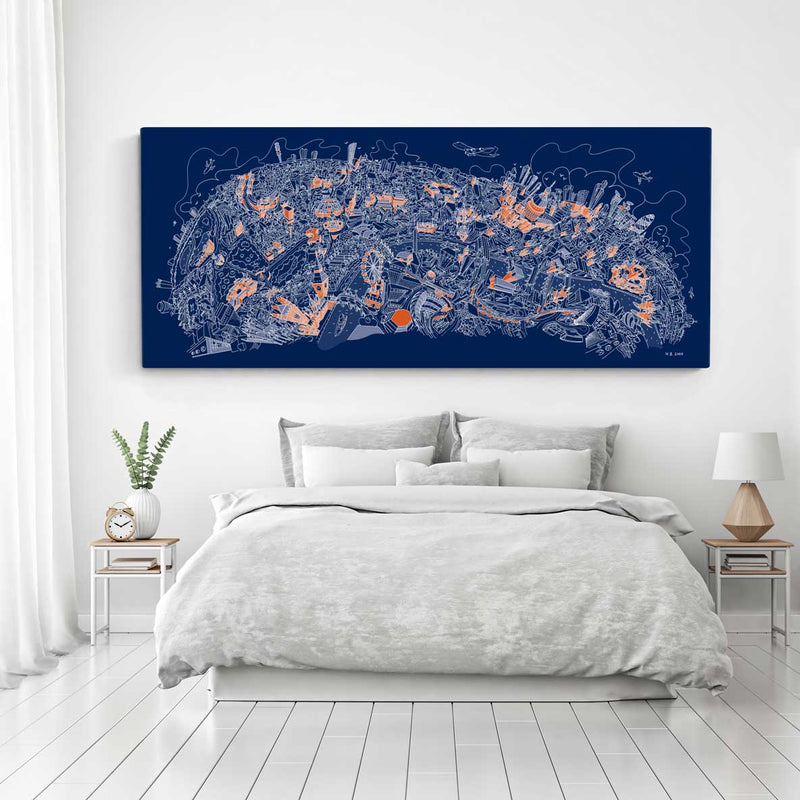 Open Edition Canvas - London Looking North - Orange & White on Blue