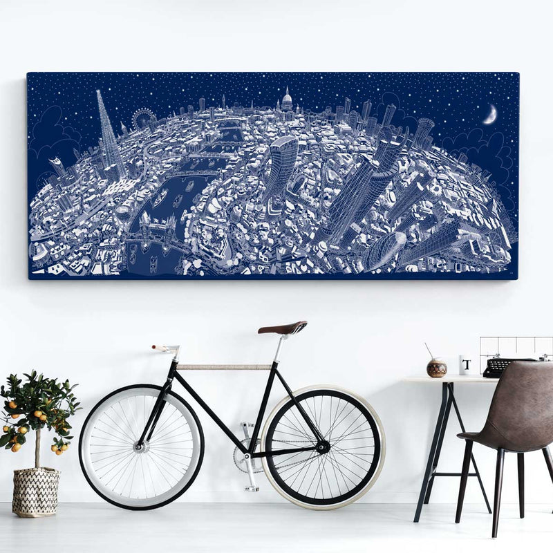 Limited Edition Canvas - London Looking West in Festive Blue