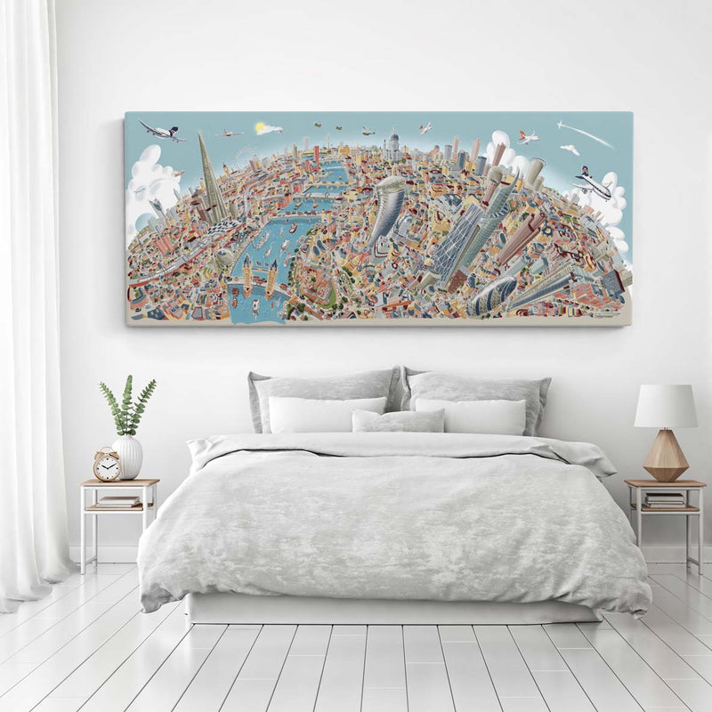 Limited Edition Canvas - London Looking West in Pastel Colours