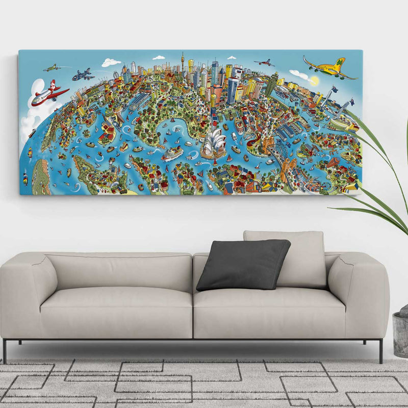Open Edition Canvas - Sydney Looking South in Full Colour