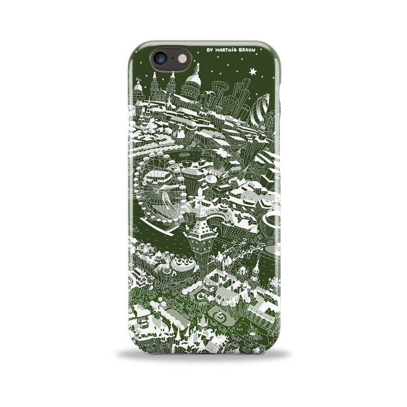 Smartphone 3D Case - London Around Big Ben in White on Green