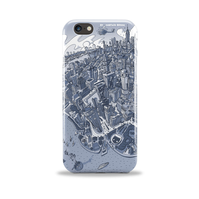 Smartphone 3D Case - New York, Manhattan in Graphic Blue