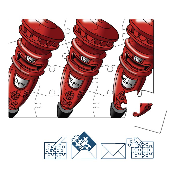 Jigsaw Puzzle Postcard - British Icons - Red Post Boxes (Landscape)