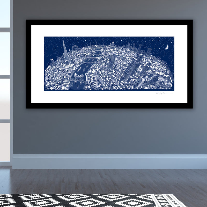 Limited Edition Art Print - London Looking West - Festive Blue (Signed)