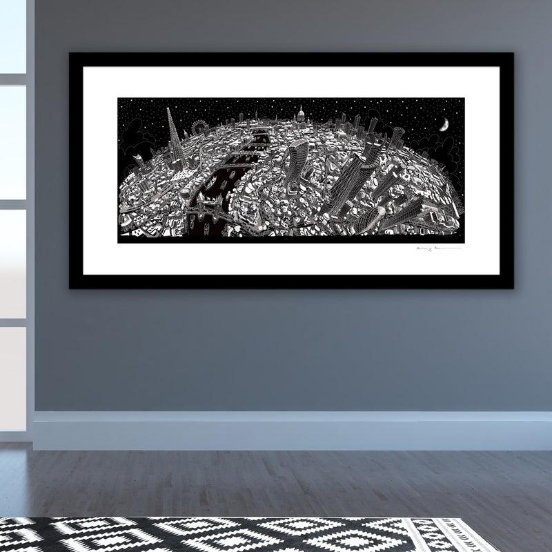 Limited Edition Art Print - London Looking West - Black & White (Signed)