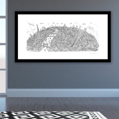 Limited Edition Art Print - London Looking West - Line Drawing (Signed)