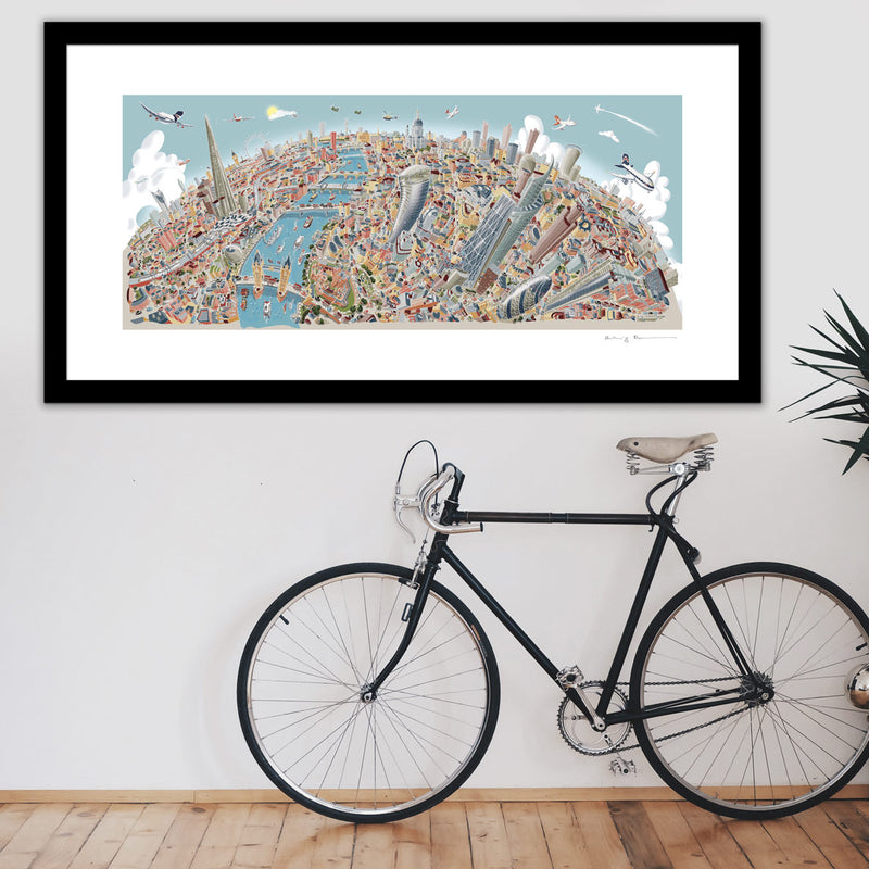 Limited Edition Art Print - Greenwich to Canary Wharf - Line Drawing (Signed)