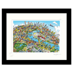 Mounted Art Print 14 x 11 inch - London Looking East - Full Colour (Landscape, Signed)