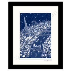 Mounted Art Print 14 x 11 inch - London Around The Shard - in Festive Blue (Portrait, Signed)