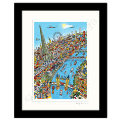 Mounted Art Print 14 x 11 inch - London Around The Shard - Full Colour (Portrait, Signed)