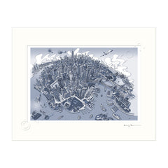 Mounted Art Print 14 x 11 inch - New York, Manhattan - in Graphic Blue (Landscape, Signed)