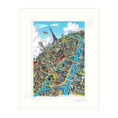 Mounted Art Print 14 x 11 inch - Paris Skyline - Full Colour (Portrait, Signed)