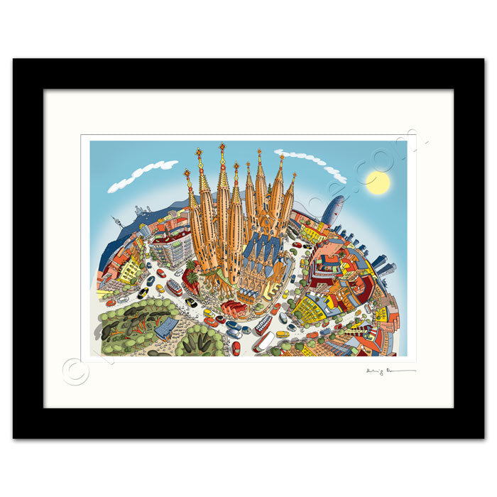 Mounted Art Print 14 x 11 inch - Barcelona Sagrada Familia - Pastel Shades (Portrait, Signed)