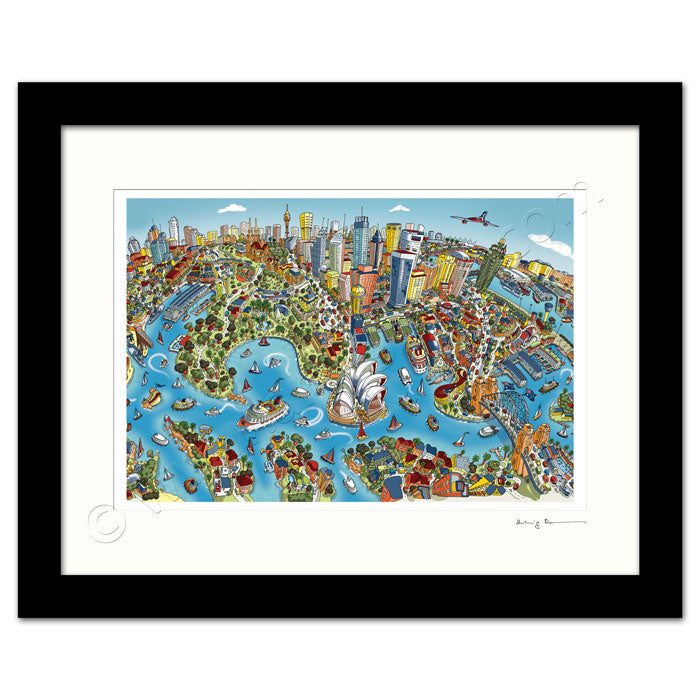 Mounted Art Print 14 x 11 inch - Sydney Looking South - Full Colour (Landscape, Signed)