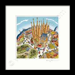 Square Mounted Art Print - The Sagrada Familia, Barcelona - Full Colour (Signed)