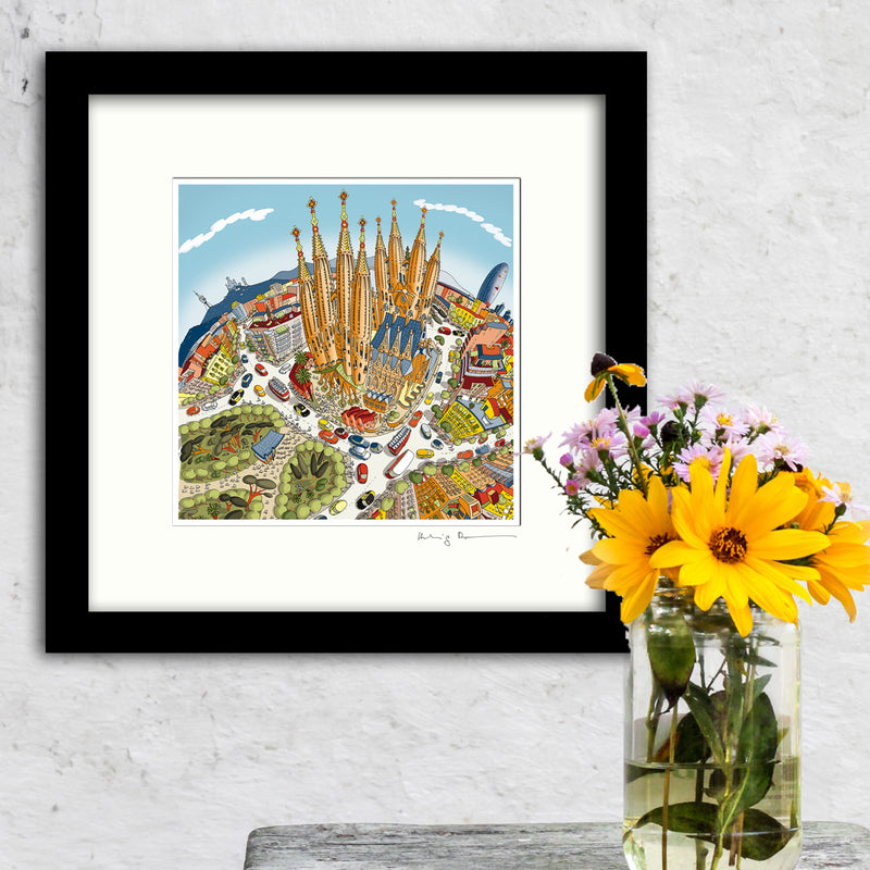 Square Mounted Art Print - The Sagrada Familia, Barcelona - Pastel Shades (Signed)