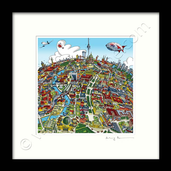 Square Mounted Art Print - Berlin Looking East - Full Colour (Signed)