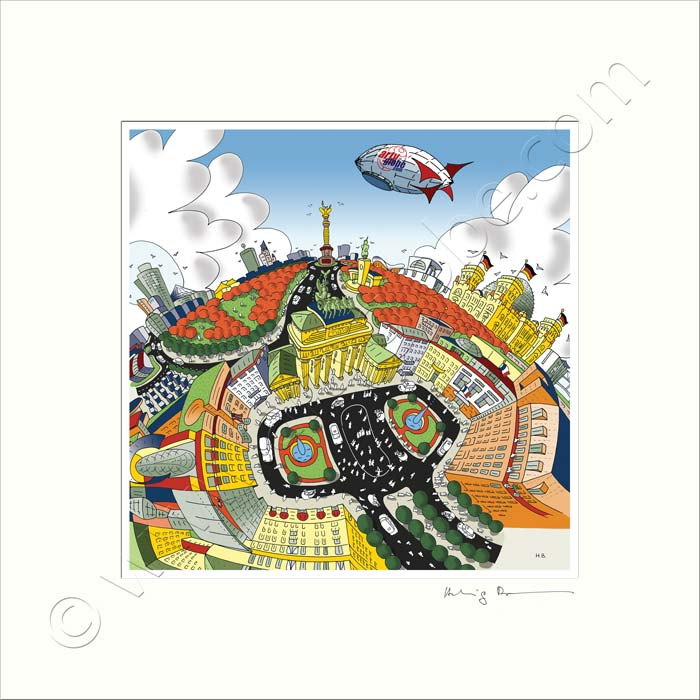 Square Mounted Art Print - Berlin, Brandenburg Gate - Full Colour (Signed)