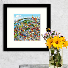 Square Mounted Art Print - Battersea & Clapham Junction - Full Colour (Signed)