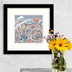 Square Mounted Art Print - Battersea & Clapham Junction - Retro Colours (Signed)